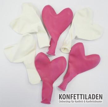 50 Herzenballons - Weiss/Pink Mix