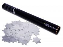 50cm Konfetti Shooter - Metallic Sterne - Silber