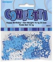 Tischkonfetti - Happy Birthday - Blau Silber Mix