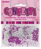 Tischkonfetti - Happy Birthday - Pink Silber Mix