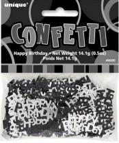 Tischkonfetti - Happy Birthday - Schwarz Silber Mix