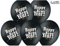Happy New Year Luftballons - Schwarz Metallic