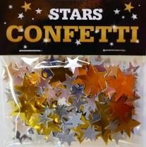 Streukonfetti Mix - Gold + Silber Metallic Sterne -Klein