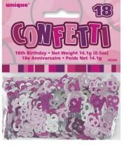 Tischkonfetti - Zahl 18  - Pink / Silber Mix