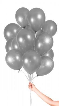 30 Luftballons - Silber Metallic - Set
