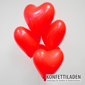 50 Herzenballons - Rot
