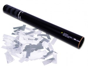 50cm Konfetti Shooter - Konfetti Mix - Weiss + Silber