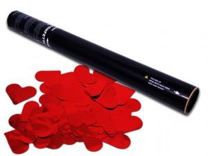 50cm Konfetti Shooter - Metallic Herzen - Rot