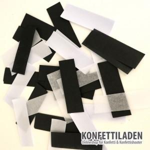80cm Hand Konfetit Shooter - Schwarz / Weiss Konfetti Mix