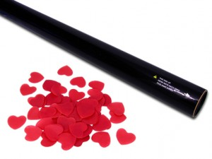 80cm Konfetti Shooter - Papier Herzen - Rot