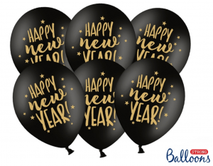 Happy new Year Luftballons - Schwarz Pastell