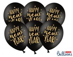 Happy new Year Luftballons - Schwarz Pastell