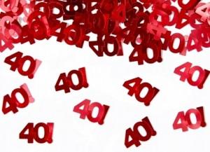 Streukonfetti - 40! - Rot