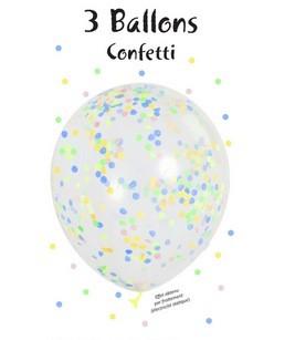 3er Blister Konfetti Luftballons - Pastell Konfetti