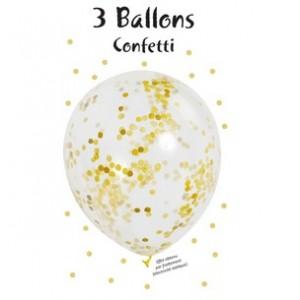 3er Blister Konfetti Luftballons - Gold Metallic
