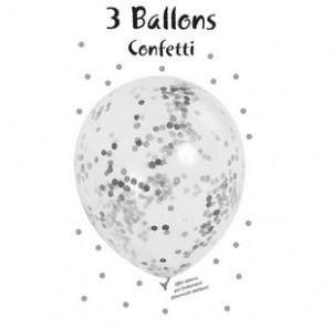3er Blister Konfetti Luftballons - Silber Metallic