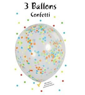 3er Blister Konfetti Luftballons - Multicolor Konfetti
