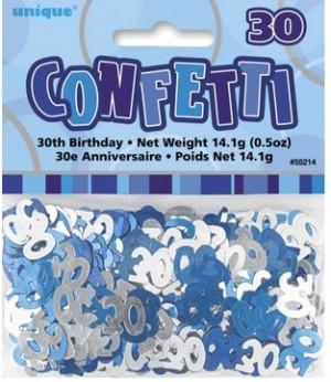 Tischkonfetti - Zahl 30 - Blau Silber Mix