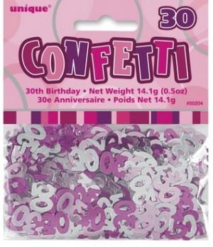 Tischkonfetti - Zahl 30 - Pink Silber Mix