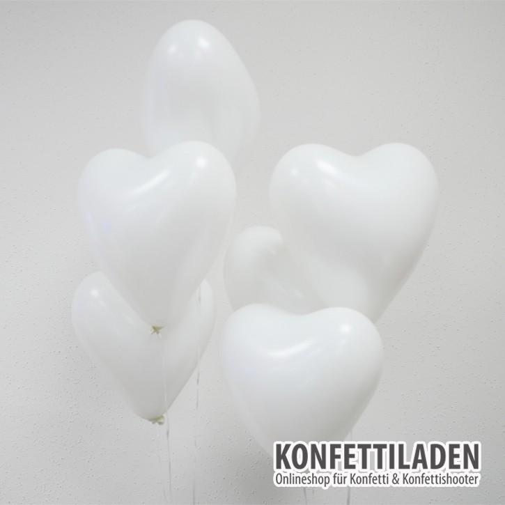 50 Herzenballons - Weiss