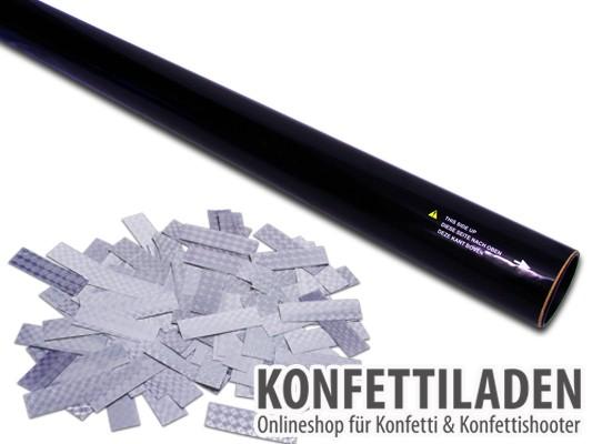 80cm Hand Konfetti Shooter -PRO- Laser Hologramm Konfetti - Silber