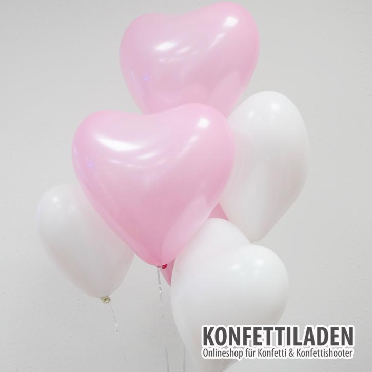 50 Herzenballons - Weiss/Rosa Mix