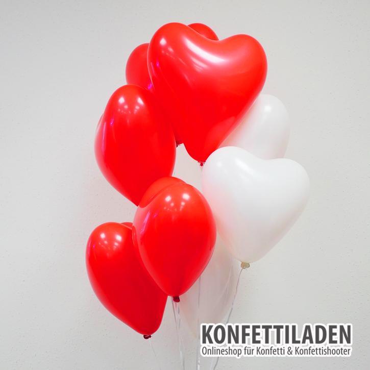 50 Herzenballons - Weiss/Rot Mix