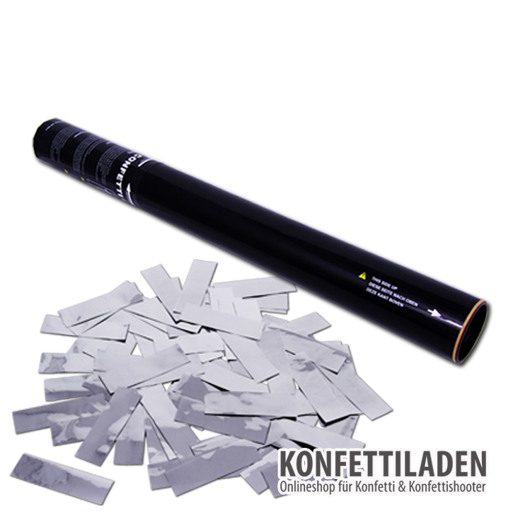 50cm Hand Konfetti Shooter - Silber Metallic Konfetti