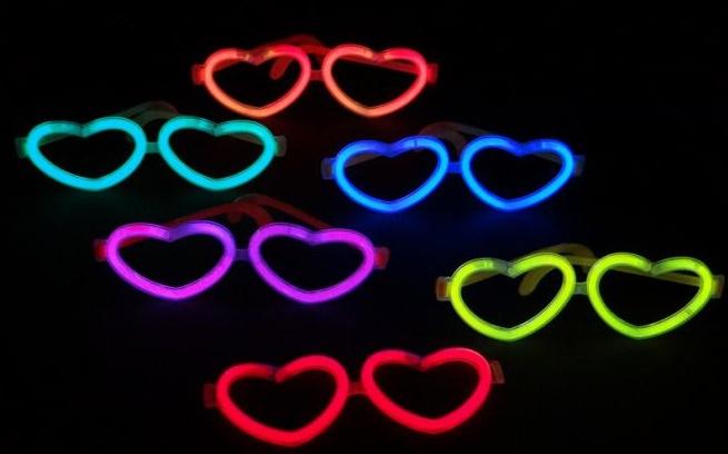 6 Herzen Knicklicht Brillen