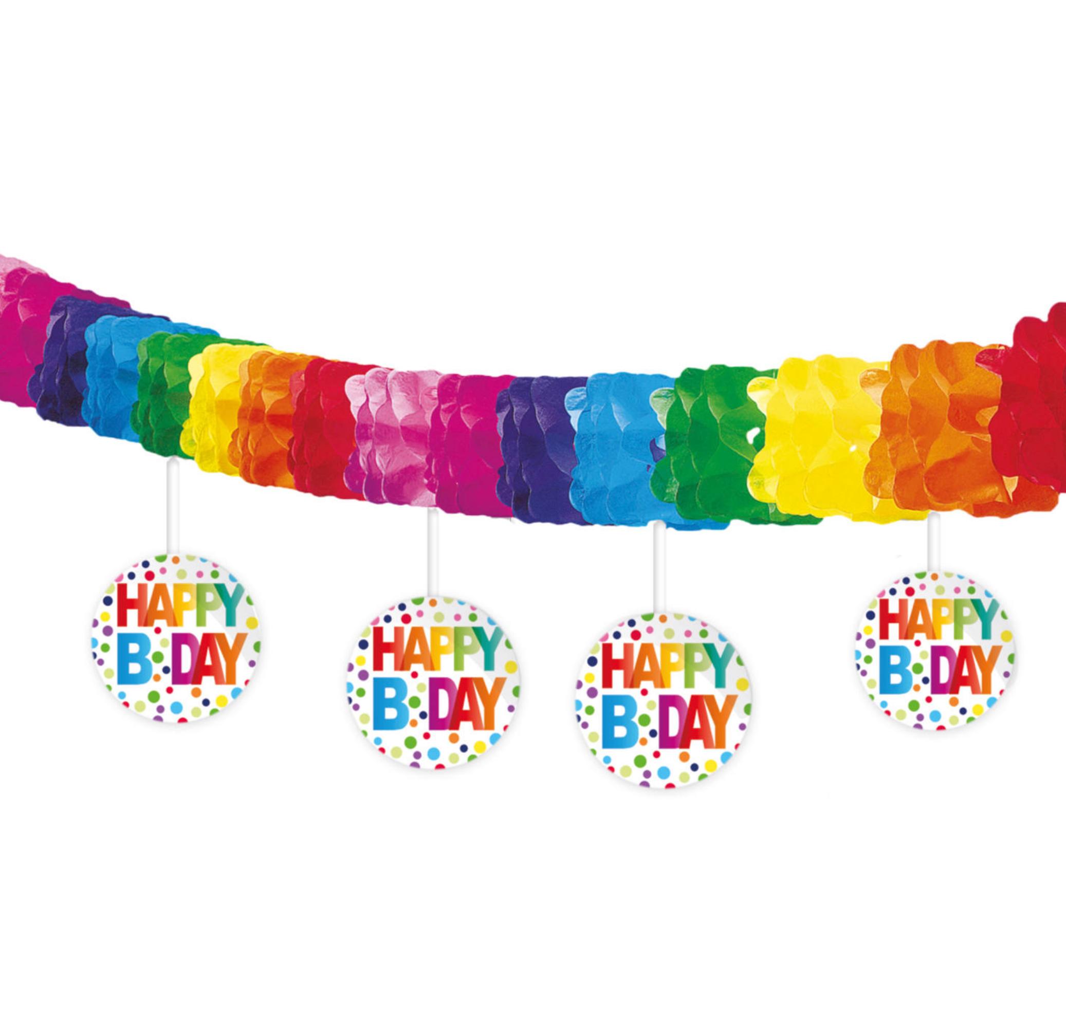 Girlande Multicolor mit Happy Birthday Banner