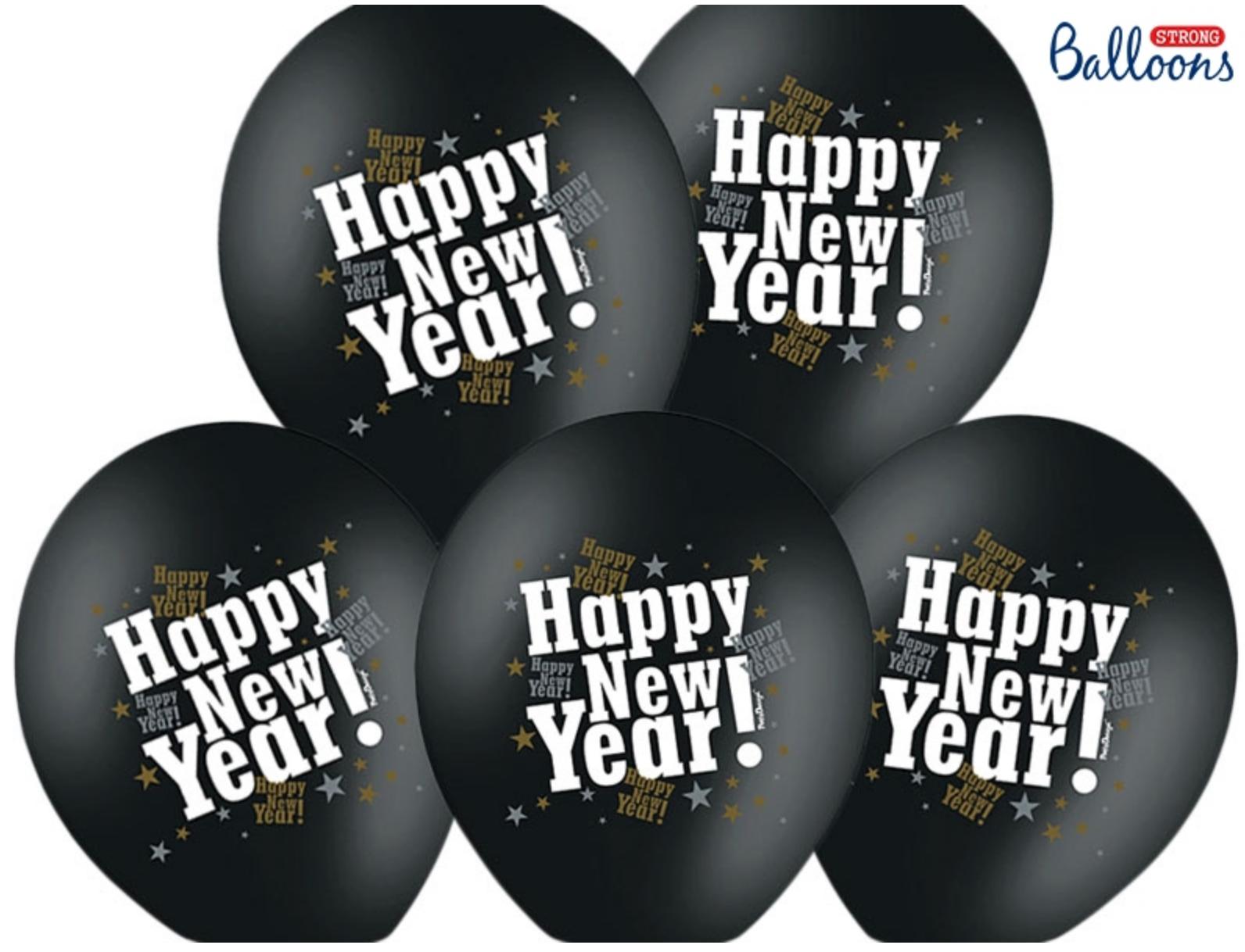 Happy New Year Luftballons - Schwarz Metallic