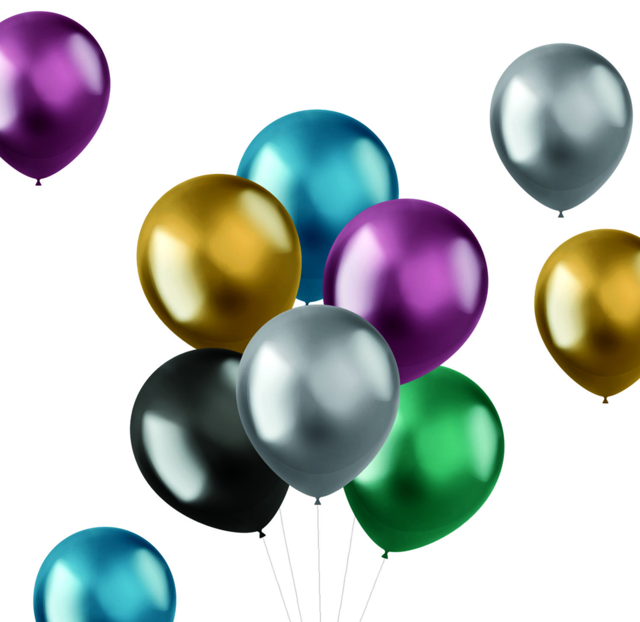 10 Luftballons Shine Intense Metallic Multicolor Mix
