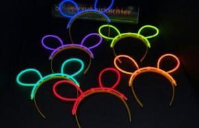 6 Knicklicht-Haarreifen - Maus Ohren - Multicolor