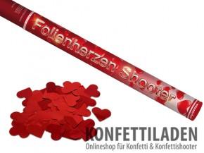 80 cm Hand Konfetti Shooter - Metallic Herzen Rot